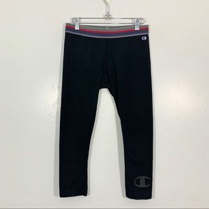 🌷Champion | Black Logo Cuff Yoga Athletic Capris